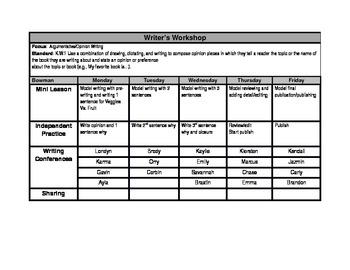 Writers Workshop Bi-Weekly Planning Tool