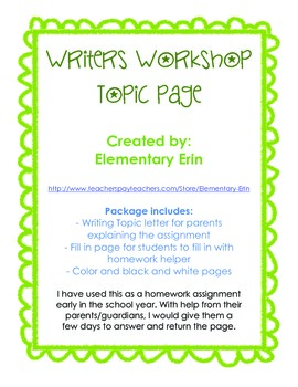 Writer's Workshop Brainstorming Topics Home Connection