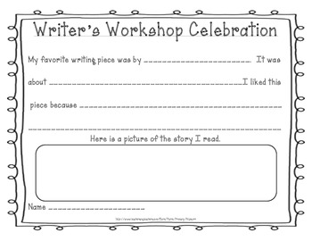 Writer's Workshop Celebration Response Sheet