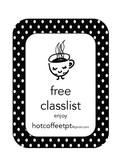 FREE classlists for recording/planning/checklists