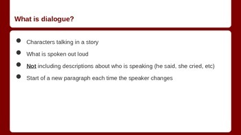 Writer's Workshop - Dialogue