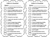 Revising and Editing Checklist for Writer's Workshop