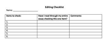 Writer's Workshop Editing Checklist-BLANK