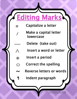 Writers' Workshop Editing Marks Poster