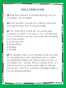 Writer's Workshop Editing Notecards