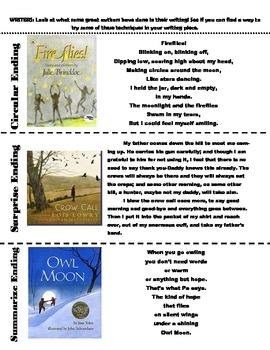 Writer's Workshop Endings for Student Use