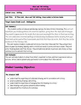 Writers Workshop Gr. K, New, If Then Unit, Show & Tell, Lesson Plan Bundle