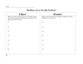 Writers Workshop Graphic Organizer Build Up Using Clues and Events