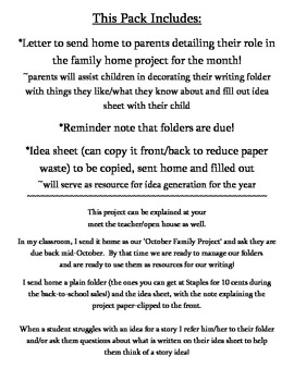 Writer's Workshop ~Home Project Template to Get WW Up & Running!~ K-1