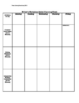 Writer's Workshop Lesson Planning Guide