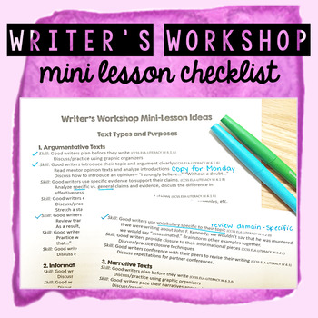 Writers Workshop Mini Lesson Checklist FREEBIE!