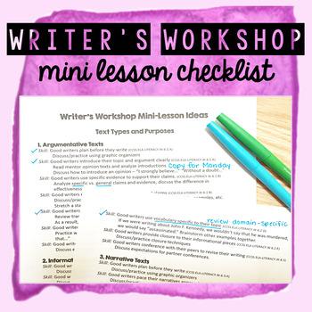 Writers Workshop Mini Lesson Checklist FREEBIE!