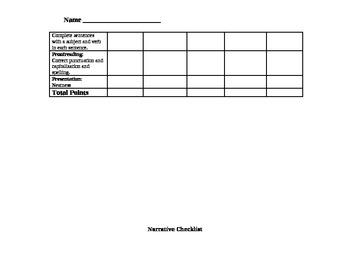 Writer's Workshop:  Narrative Essay and Peer/Teacher Conferencing Checklist