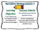 Writers Workshop Narrative Unit Objectives