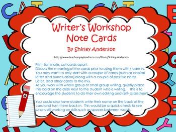 Writer's Workshop Note Cards