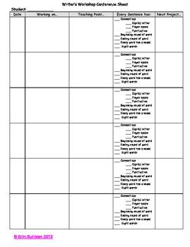 Writer's Workshop Observation Sheet