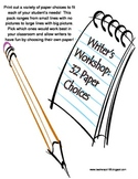 Writer's Workshop: Paper Choice Pack of 32 Different Writing Pages