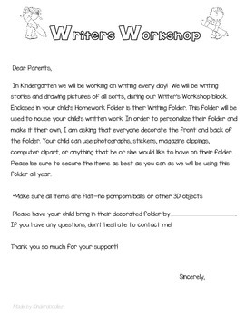 Writers Workshop ParentLetter