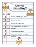 Writer's Workshop:  Peer Editing Conference Form... Whooo's Been Editing