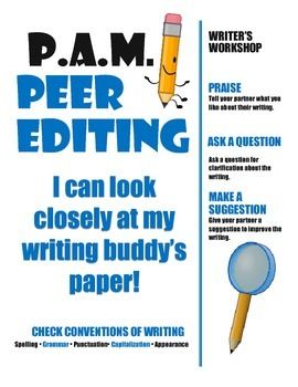 Writer's Workshop: Peer Editing with the PAM Strategy Anchor Chart