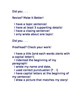 Writer's Workshop Revise and Proofread Editable Paragraph Checklist