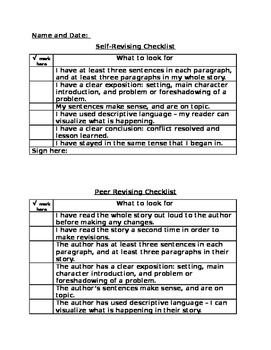 Writers Workshop Self and Peer Revise/Edit Checklists