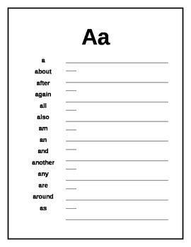 Writer's Workshop Sight Word Dictionary