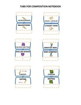 Writer's Workshop Tabs for Composition Notebook