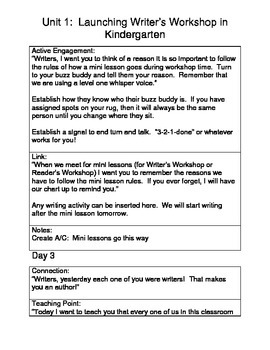 Writer's Workshop Unit 1 Complete Plans-Kindergarten