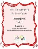 Writer's Workshop Unit of Study Lesson Outline, Unit 1 Session 1 Kindergarten
