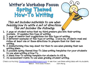 Writer's Workshop Writing Directions: A How To
