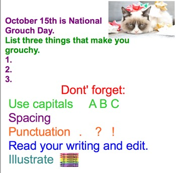 Writers Write-First Grade Monthly Writing Prompts Sept-June (Smartboard)