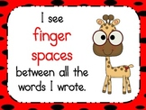 Writer's eye with finger spaces and red black polka dots background