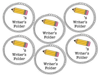 Writer's notebook and folder labels