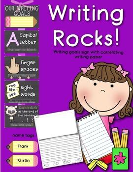 Writing Rocks! Classroom Goals Poster w/ Self-Scoring Writing Paper