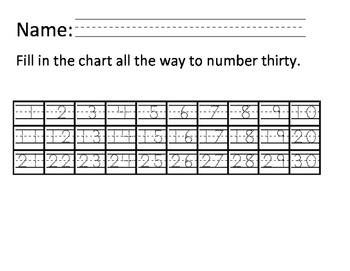 Writing 1 to 30   Thirtys DOTTED Math chart