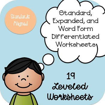 Writing 2-4 Digit Numbers in Expanded and Word Form Practice Worksheets