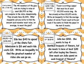 Writing 2-Step Inequalities Scavenger Hunt