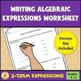 Writing 2-Term Algebraic Expressions Worksheet