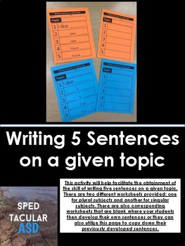 Writing 5 Sentences on a given topic
