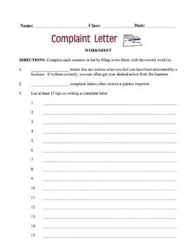 Writing A Complaint Letter Lesson
