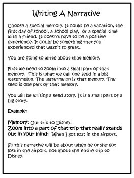 Writing A Narrative: Zooming In