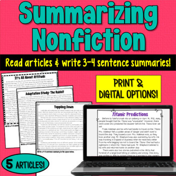 Nonfiction Passages to Practice Writing Summaries