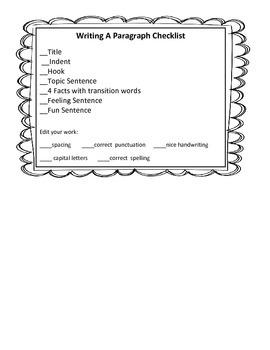Writing A Paragraph Checklist