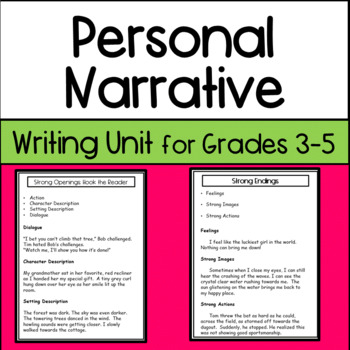 Writing A Personal Narrative Lesson Plans