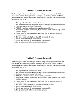 Writing A Persuasive Paragraph
