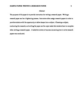 Writing A Research Paper- A Sample Paper