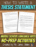 Writing A Thesis Statement: Persuasive Essay Position Activity