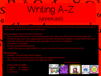Writing A-Z (uppercase)