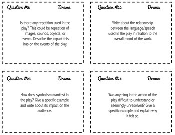 Writing About Drama -- Task Cards for Grades 9-12 {CCSS}